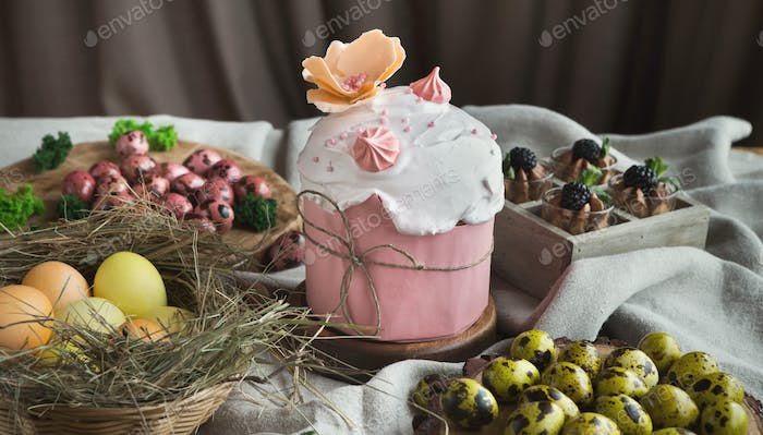 Traditional Easter sweet cake and coloured eggs
