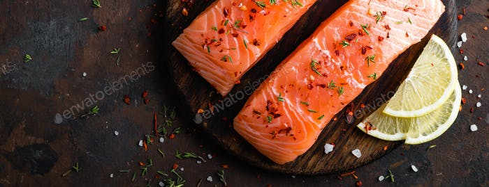 Thumbnail for Fresh salmon fish fillet on wooden board