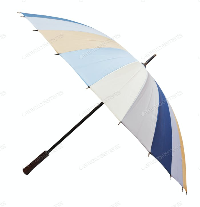 side view of open striped umbrella