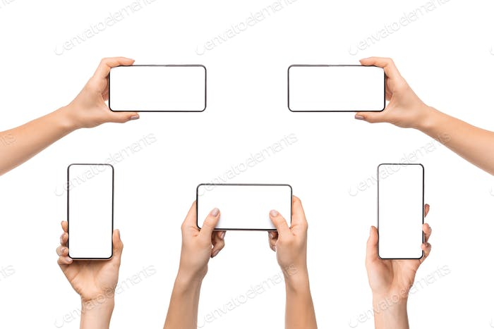 Collection of female hands holding smart phone with empty screen