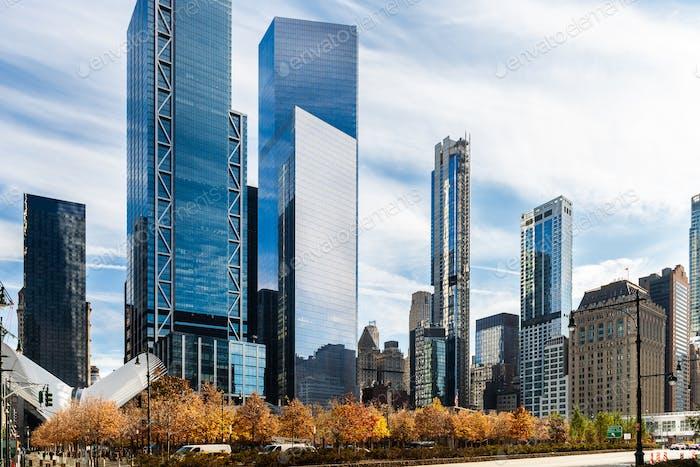 Traumhafte Aussicht auf New York City Wolkenkratzer in Downtown Manhattan