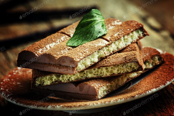 Porous chocolate, selective focus