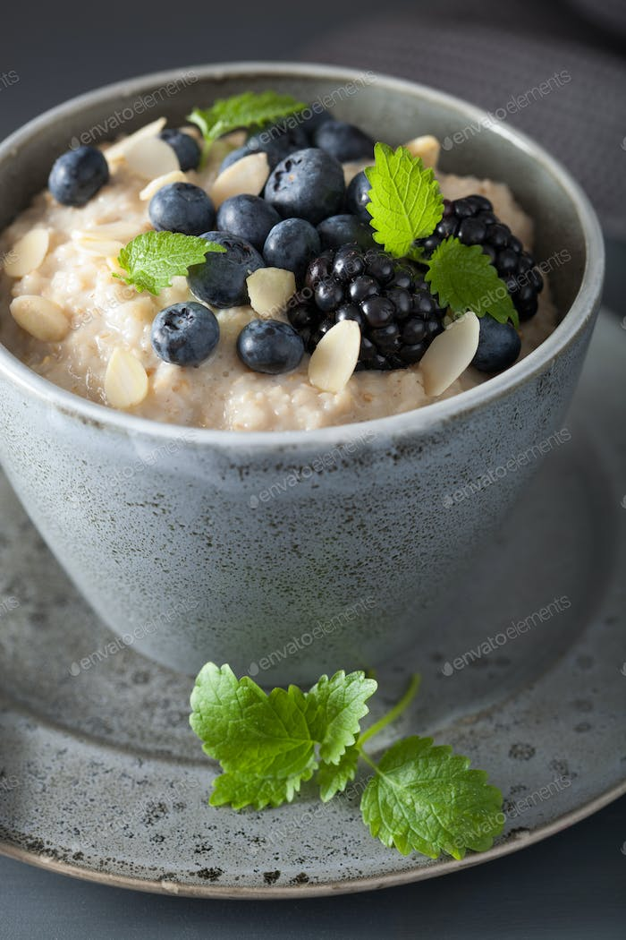 healthy breakfast steel cut oatmeal porridge with blueberry blac