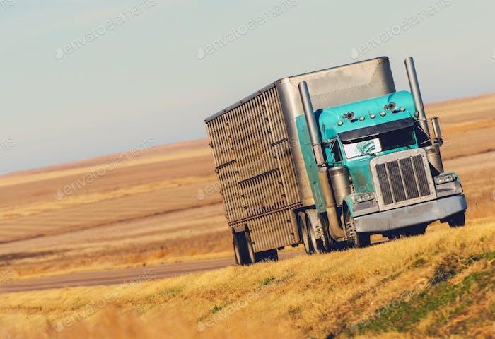 Semi Truck on Prairie Road