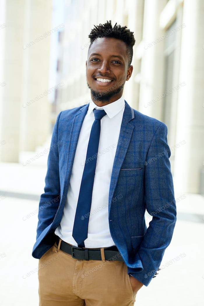 Cheerful confident black business executive
