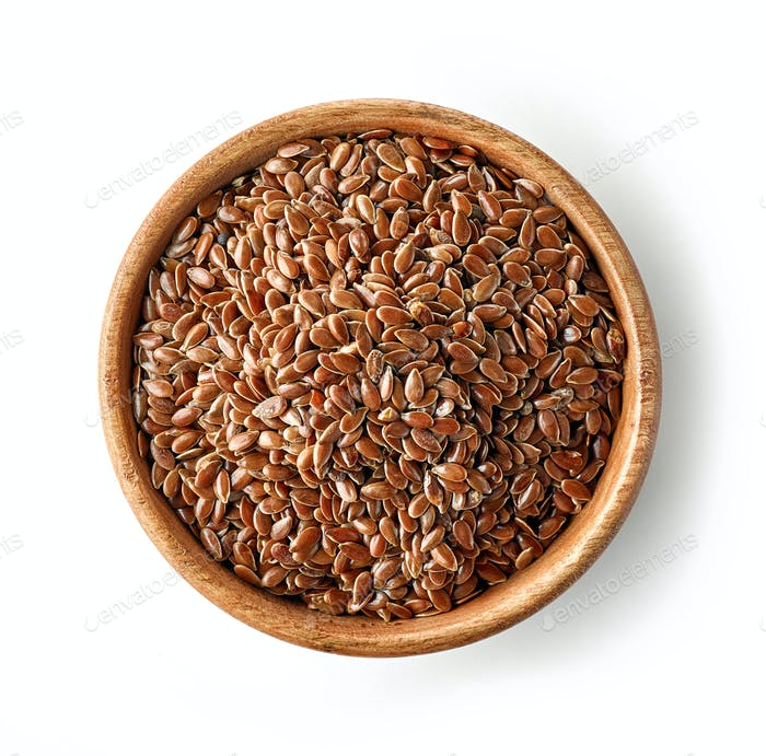 wooden bowl of flaxseed