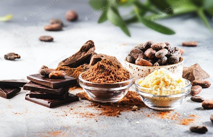 Manteca orgánica de cacao, granos de cacao, cacao rallado