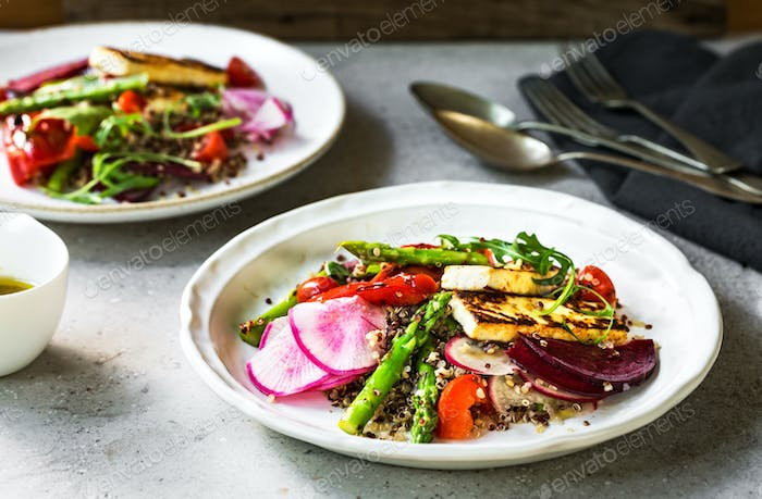 Seared Halloumi with Asparagus and Pepper on Quinoa Salad