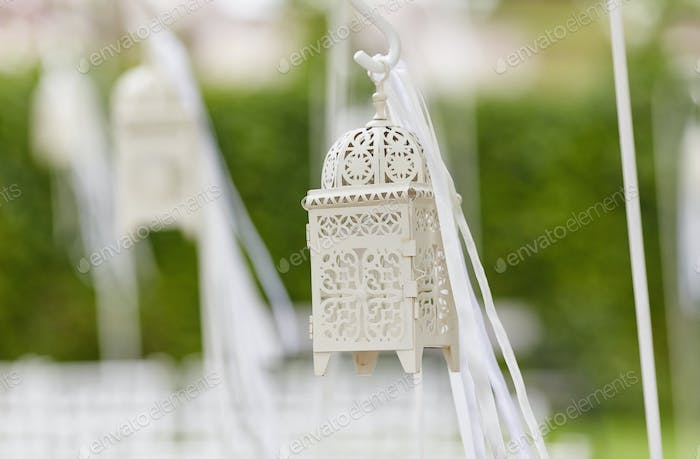 Cropped close-up image of a beautiful decorations for the wedding ceremony.