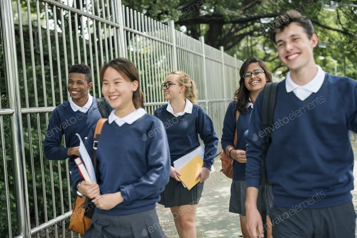 Students on their way home from school