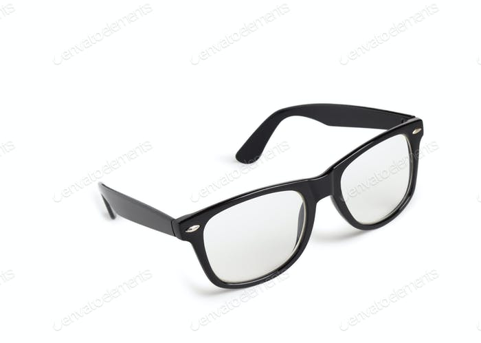 Photo of black nerd glasses isolated on white