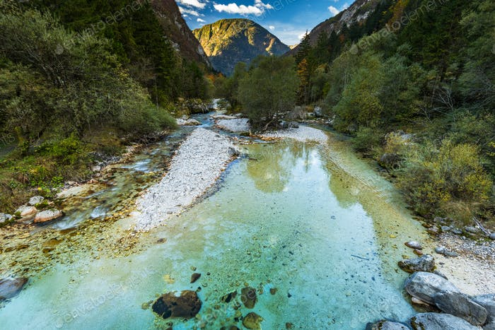 Clear turquoise water in Soca river,Slovenia