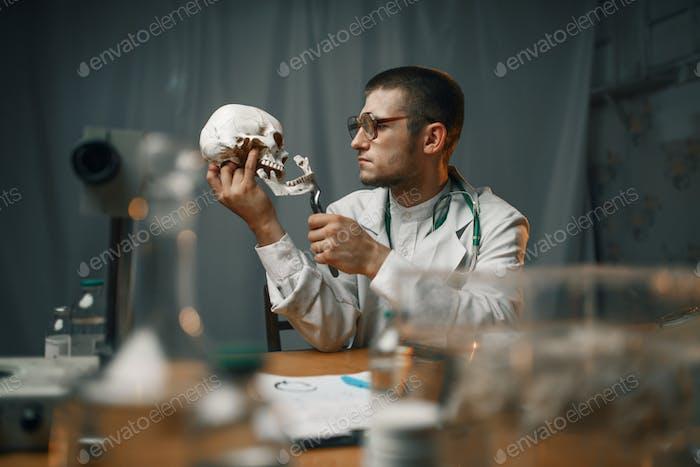 Psychiatrist in lab coat examines the human skull