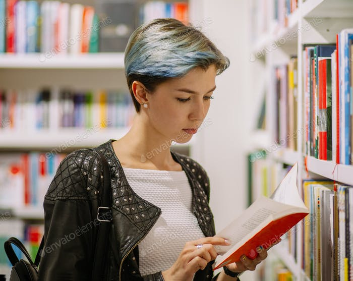 young subculture punk woman in library