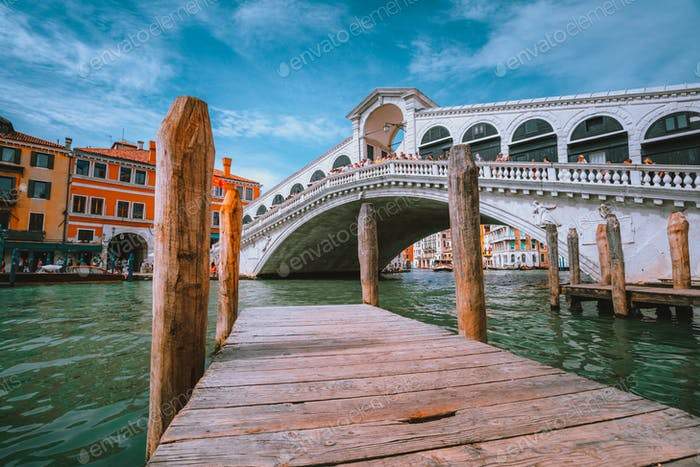 Rialto bridge at Grand Canal in Venice, Italy. Architecture and landmarks of Venice