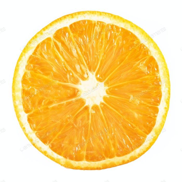 slice ripe orange citrus fruit isolated on white background