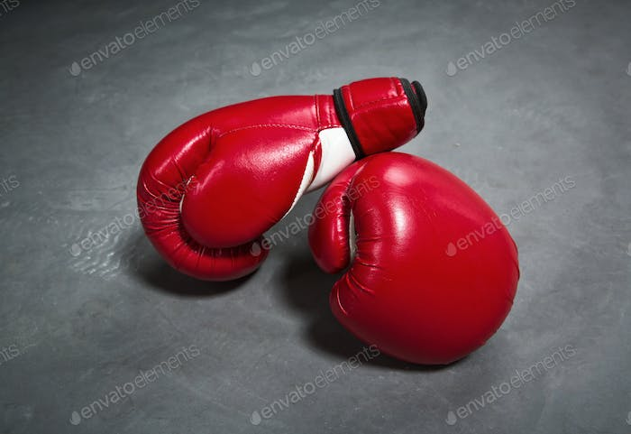 Red boxing gloves, closeup, nobody