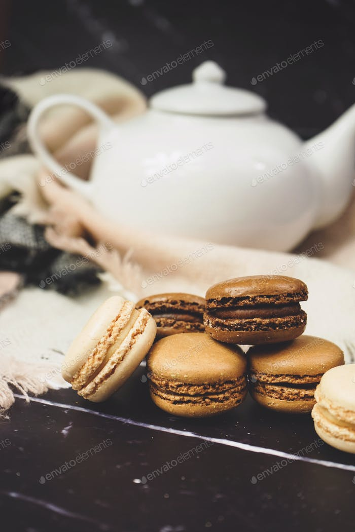 Chocolate, coffee and vanila macarons
