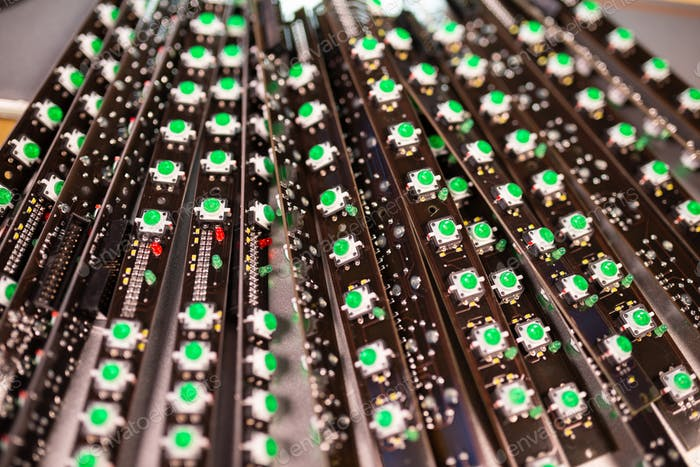 Panel of LED light indicators is in the production