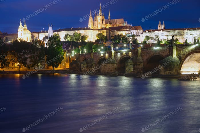 Beautiful Prague at night