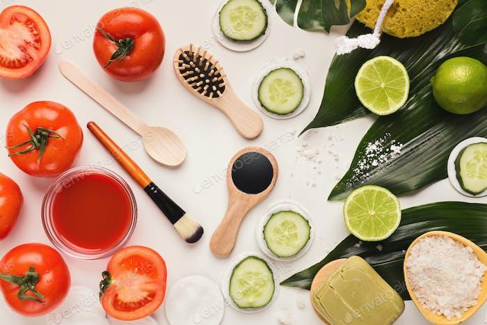 Handmade tomato face mask for home skin care