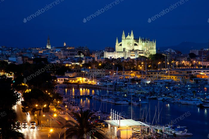 View of Palma de Mallorca with Cathedral Santa Maria