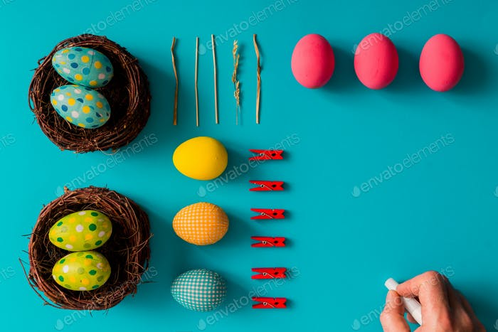 Flat lay Easter eggs