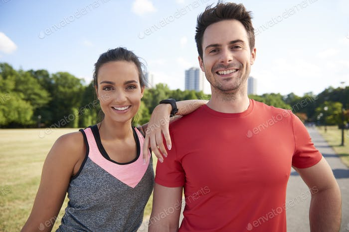 Portrait of smiling couple after hard workout