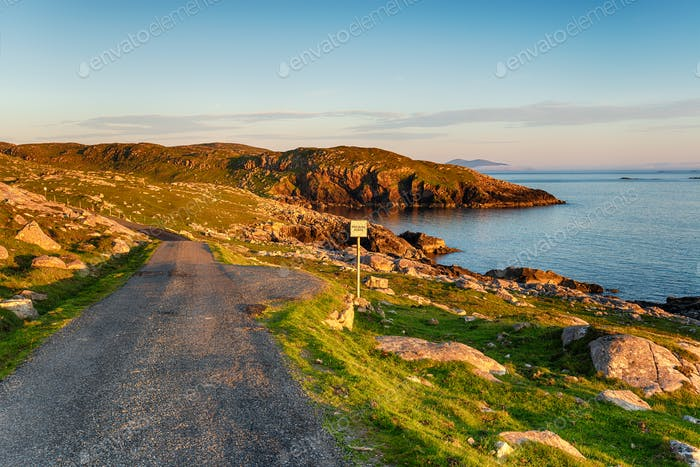A Scottish single track road with passing places at Hushinish