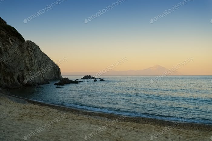 Beautiful sunset beach photo in Greece Chalkidiki Sarti