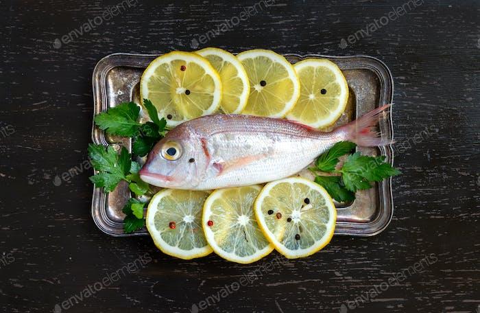 Fresh fish with lemon