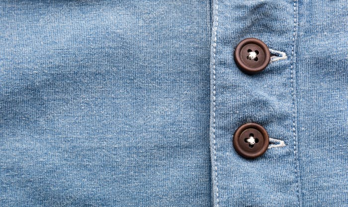 Jean cloth with buttons in a row
