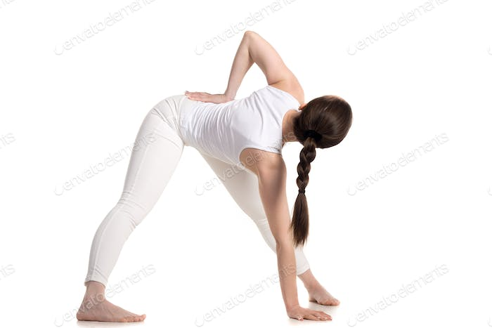 Variation of Yoga Triangle pose