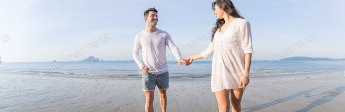 Couple On Beach Summer Vacation, Beautiful Young Happy People In Love Walking, Man Woman Smile
