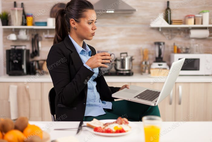 Using laptop in a modern kitchen