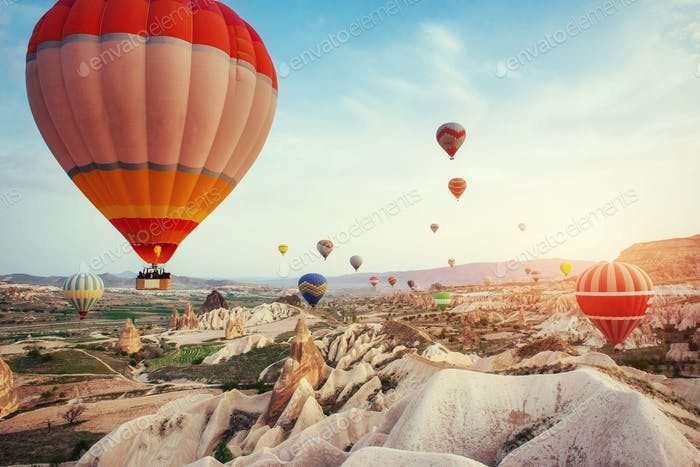 Turkey Cappadocia beautiful balloons flight stone landscape