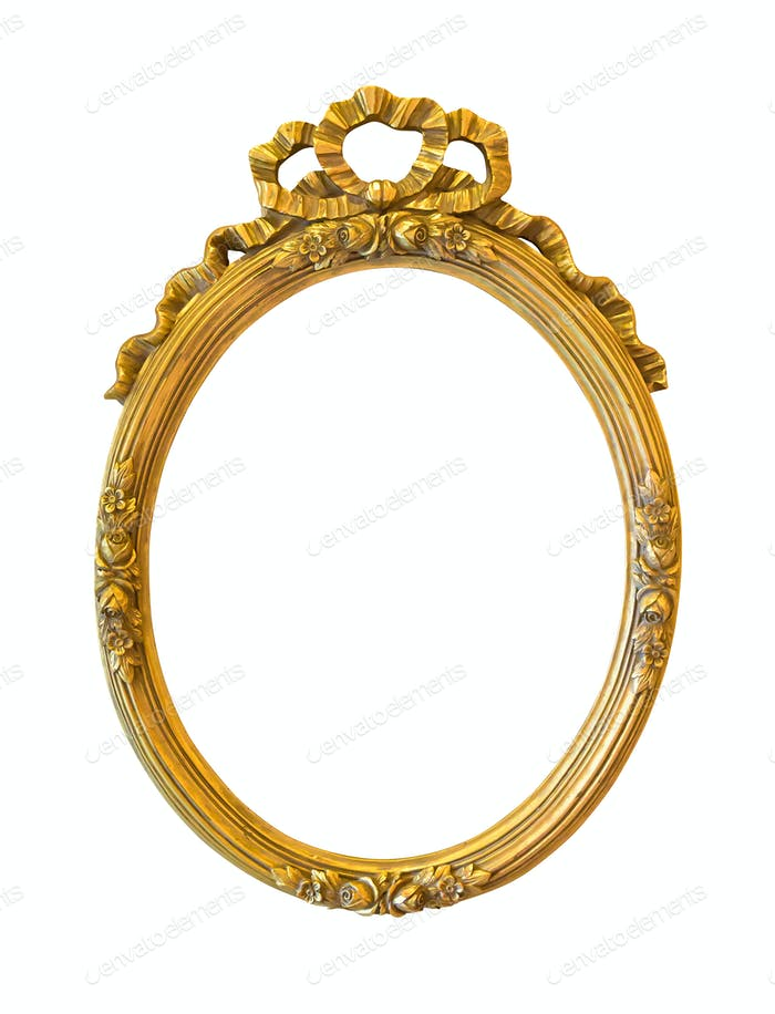 Oval golden decorative picture frame isolated on white