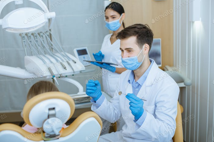Modern equipment in dental clinic, stomatology and procedure for teeth