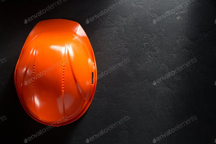 construction helmet on black