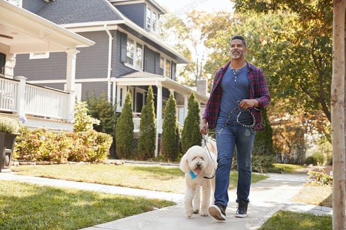 Mann Walking Hund entlang Suburban Street