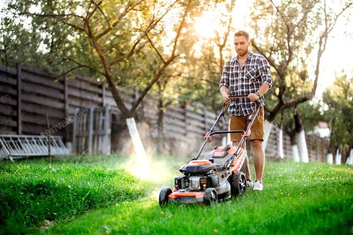 Gardening details, industrial gardener working with lawnmower and cutting grass in backyard