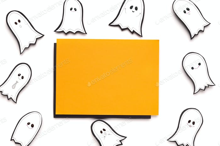 Halloween autumn background with orange blank sheet of paper