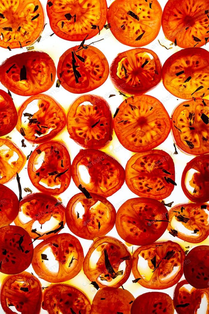 Tomato slices seasoned