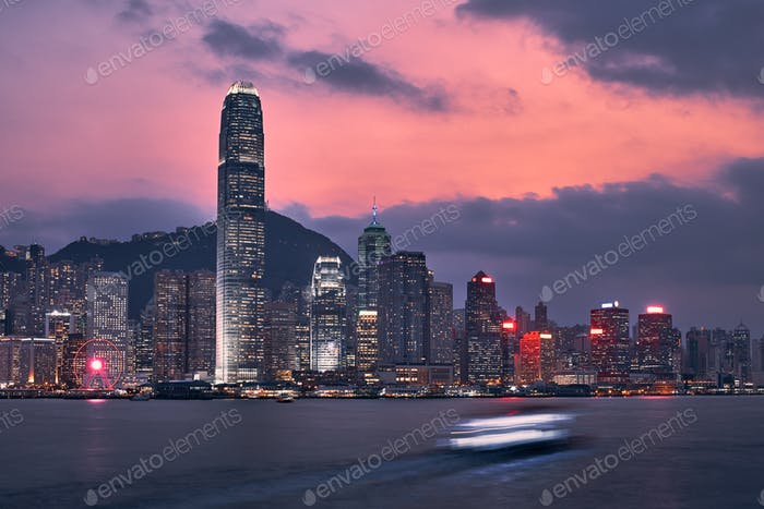 Hong Kong skyline at dusk