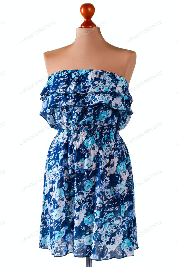 Strapless blue summer dress.