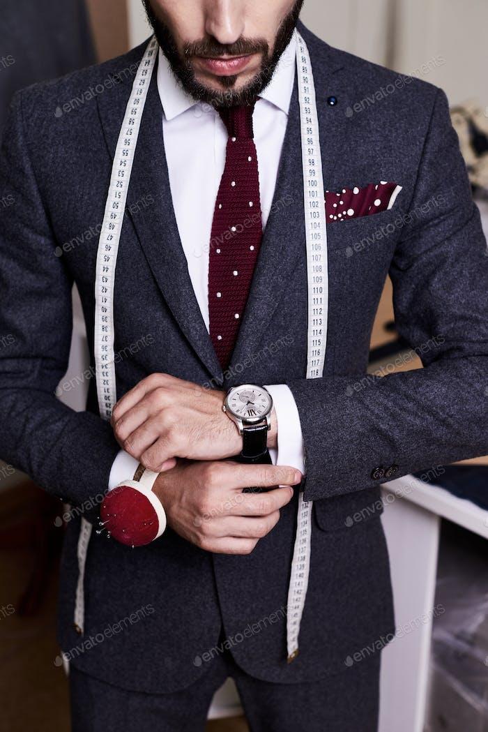 Handsome Tailor Wearing Bespoke Suit