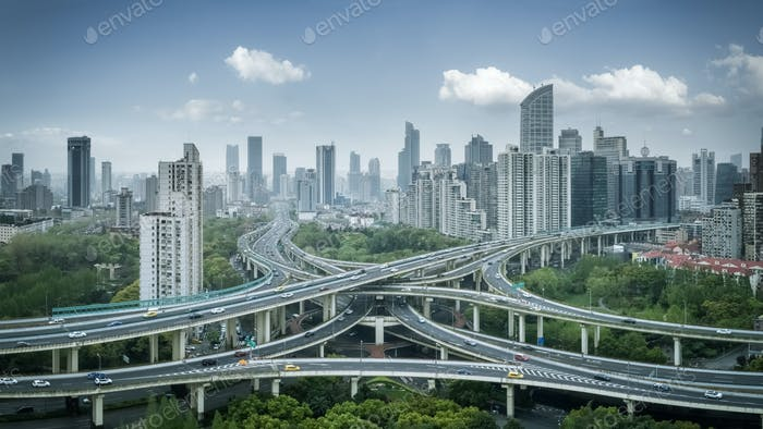 city interchange panorama in shanghai