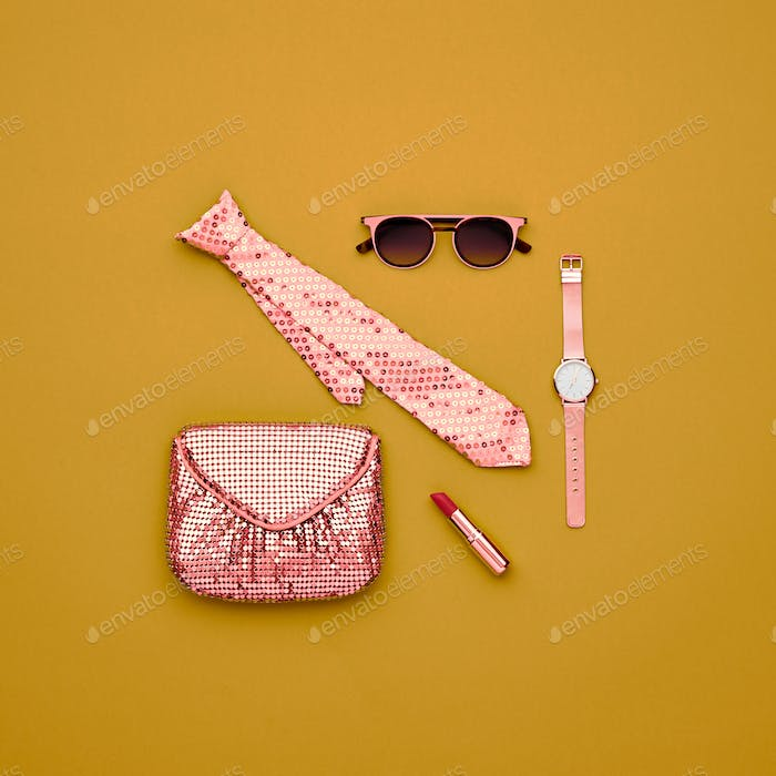 Fashion Minimal Design Woman Accessories Set. Art