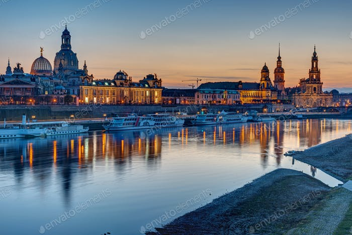 The old town of Dresden after sunset