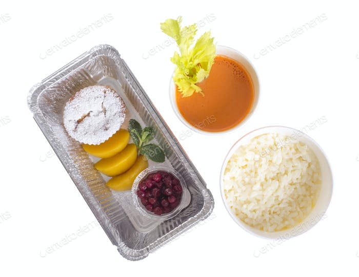 Rice porridge with muffin and juice.